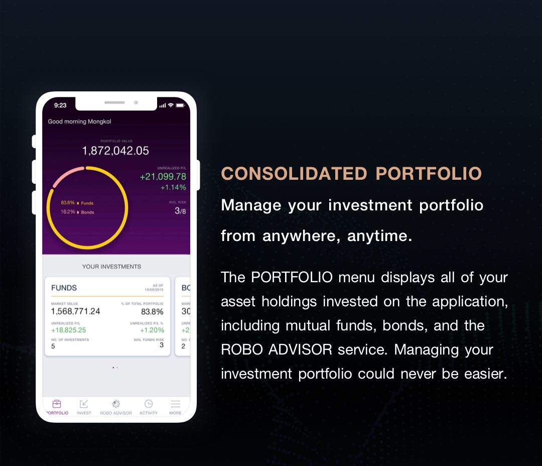 CONSOLIDATED PORTFOLIO. Manage your investment portfo-lio from anywhere, anytime. The PORTFOLIO menu displays all your asset holdings invested on the application.