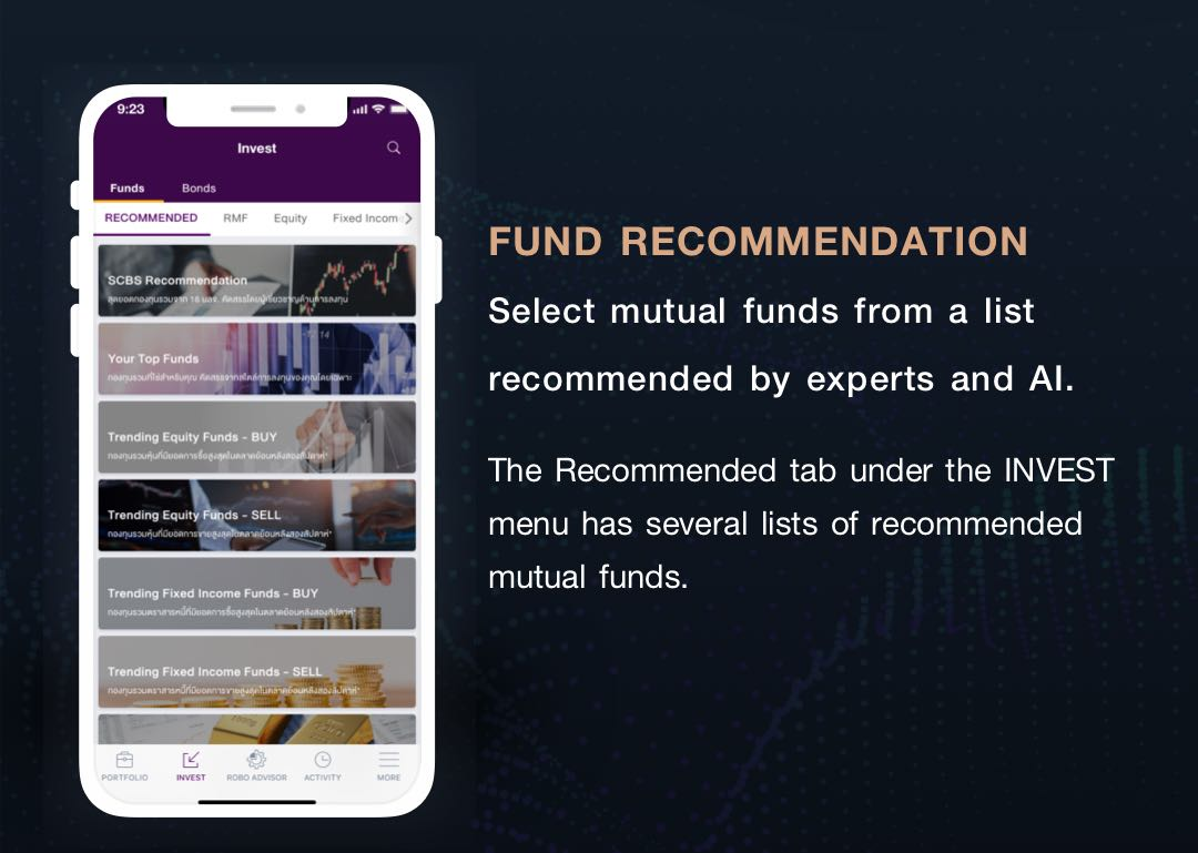 FUND RECOMMENDATION. Se-lect mutual funds from a list recommended by experts and AI. The Recommended tab un-der the INVEST menu has sev-eral lists of recommended mu-tual funds.