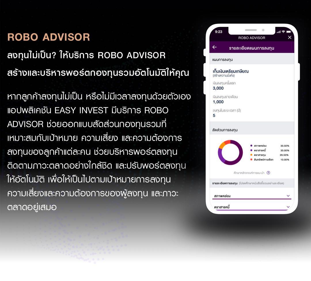 ROBO ADVISOR ลงทุนไม่เป็น? ให้บริการ ROBO ADVISOR สร้างและบริหารพอร์ตกองทุนรวมอัตโนมัติให้คุณ และปรับพอร์ตลงทุนให้อัตโนมัติ เพื่อให้เป็นไปตามเป้าหมายการลงทุน ความเสี่ยงและความต้องการของผู้ลงทุน และภาวะตลาดอยู่เสมอ