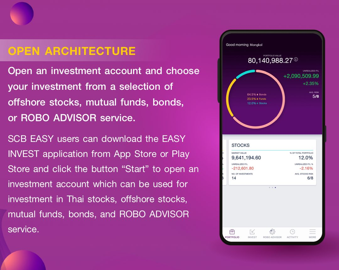OPEN ARCHITECTURE. Open an investment account and choose your investment from a selection of offshore stocks, mutual funds, bonds, or ROBO ADVISOR service.