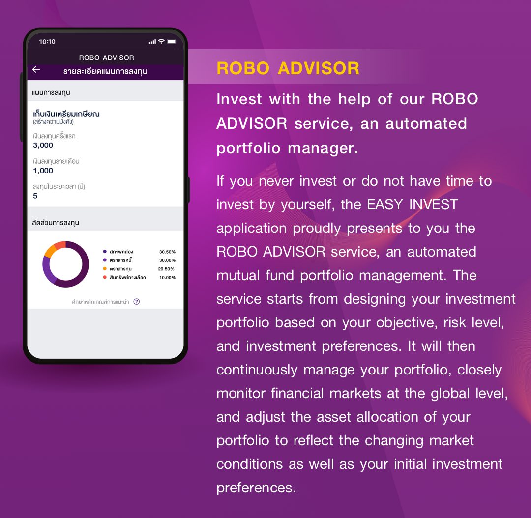 ROBO ADVISOR. Invest with the help of our ROBO ADVISOR service, an automated portfolio manager. The service starts from designing your investment portfolio based on your objective, risk level, and investment preferences. It will then continuously manage your portfolio, closely monitor financial markets at the global level, and adjust the asset allocation of your portfolio to reflect the changing market conditions as well as your initial investment preferences.