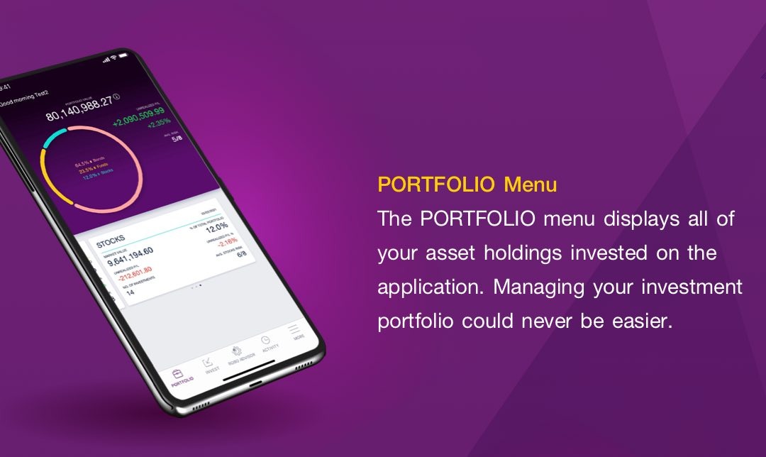 The PORTFOLIO menu displays all of your asset holdings invested on the application. Managing your investment portfolio could never be easier.