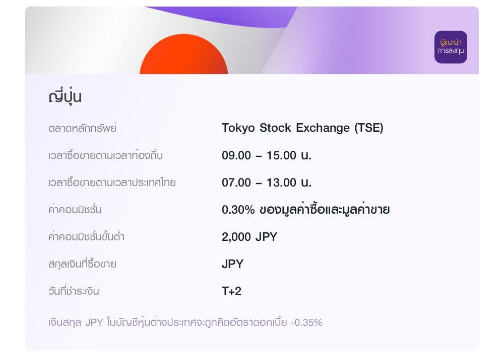ญี่ปุ่น ลงทุนผ่านผู้แนะนำการลงทุน ในตลาด Tokyo Stock Exchange (TSE) เวลาซื้อขายตามเวลาท้องถิ่น 09.00 – 15.00 น. ค่าคอมมิชชั่น 0.30% ของมูลค่าซื้อและมูลค่าขาย ค่าคอมมิชชั่นขั้นต่ำ 2,000 JPY เงินสกุล JPY ในบัญชีหุ้นต่างประเทศจะถูกคิดอัตราดอกเบี้ย -0.35%