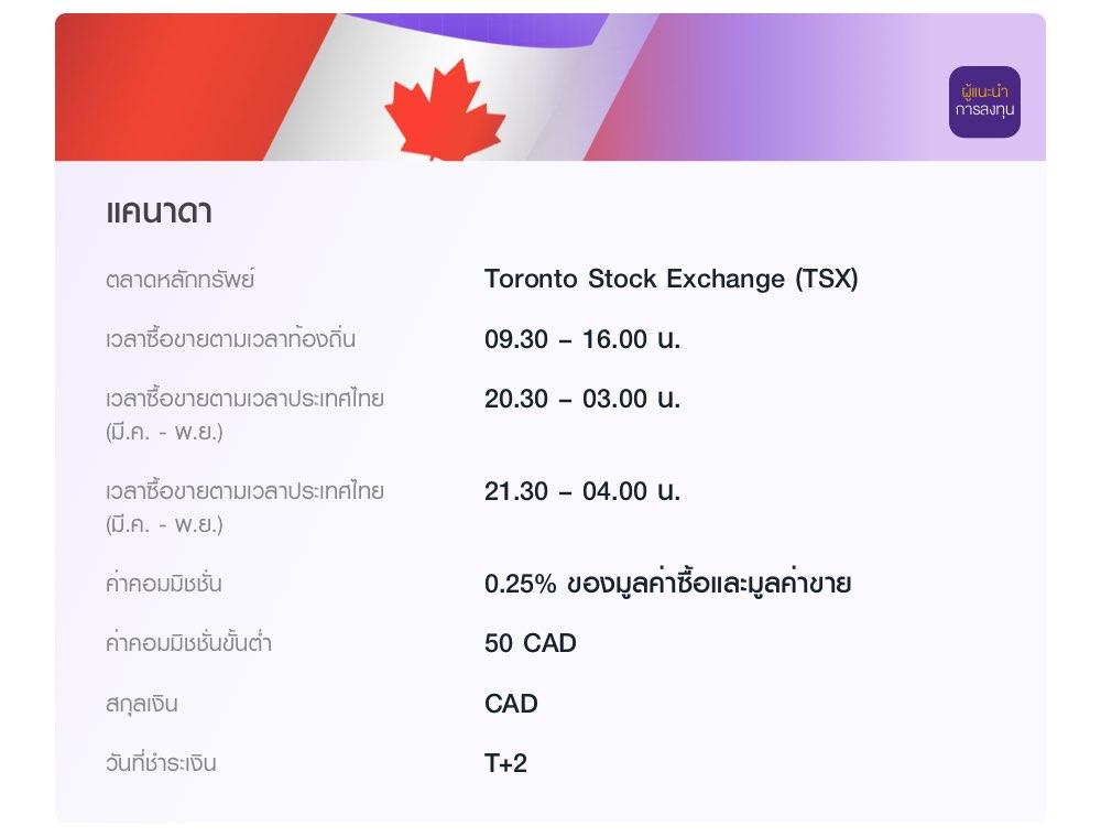 แคนาดา ลงทุนผ่านผู้แนะนำการลงทุน ในตลาด Toronto Stock Exchange (TSX) เวลาซื้อขายตามเวลาท้องถิ่น 09.30 – 16.00 น. ค่าคอมมิชชั่น 0.25% ของมูลค่าซื้อและมูลค่าขาย ค่าคอมมิชชั่นขั้นต่ำ 50 CAD
