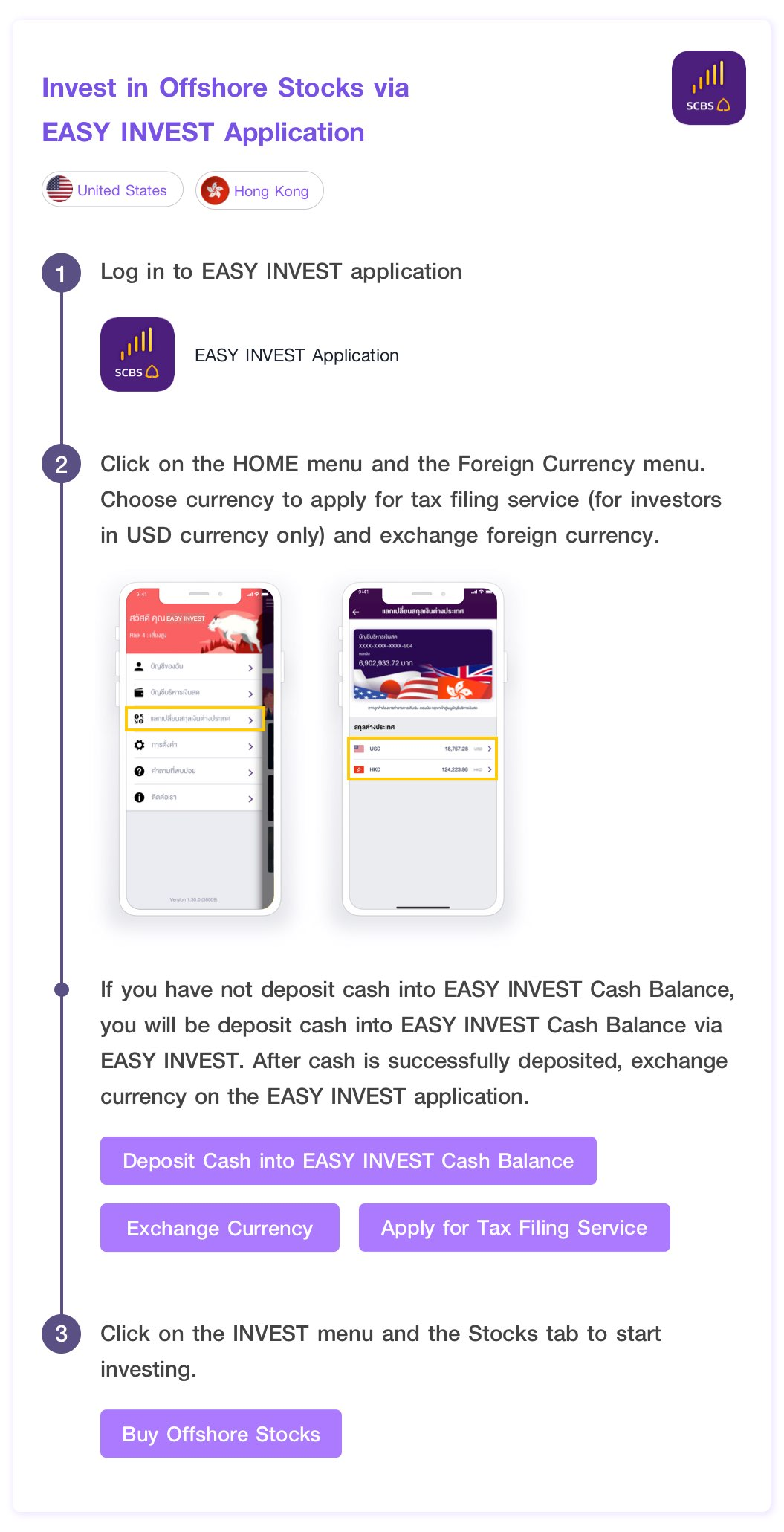 Invest in United States, Hong Kong Stocks via EASY INVEST Application. Log in to EASY INVEST application. Click on the MORE menu and the Foreign Currency menu. Choose currency to apply for tax filing service (for investors in USD currency only) and exchange foreign currency.