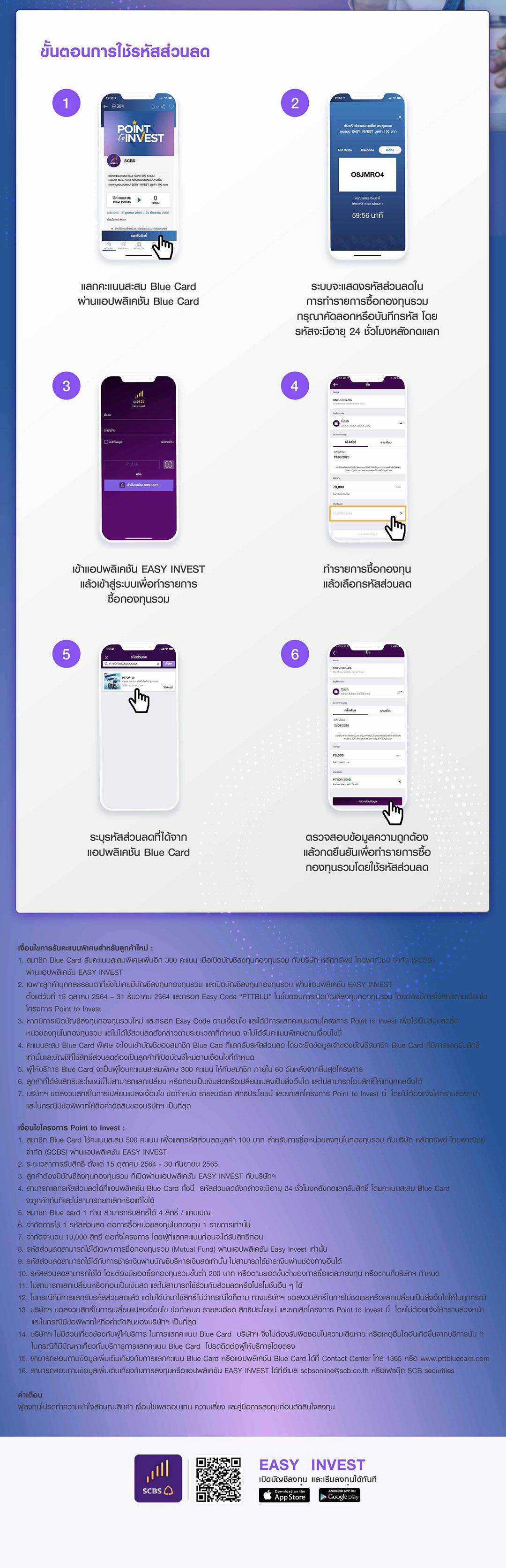 แลกคะแนนสะสม ปตท Blue Card 500 คะแนนบนแอปพลิเคชั่น Blue Card เพื่อรับรหัสส่วนลดการซื้อกองทุนรวมบนแอป EASY INVEST มูลค่า 100 บาท ทำรายการได้ถึง 30 กันยายน 2565 ลูกค้าใหม่เปิดบัญชีลงทุนกับแอป EASY INVEST รับคะแนน Blue Card เพิ่ม 300 คะแนนเมื่อใส่ Easy Code PTTBLU ในการเปิดบัญชี ถึง 31 ธันวาคม 2564