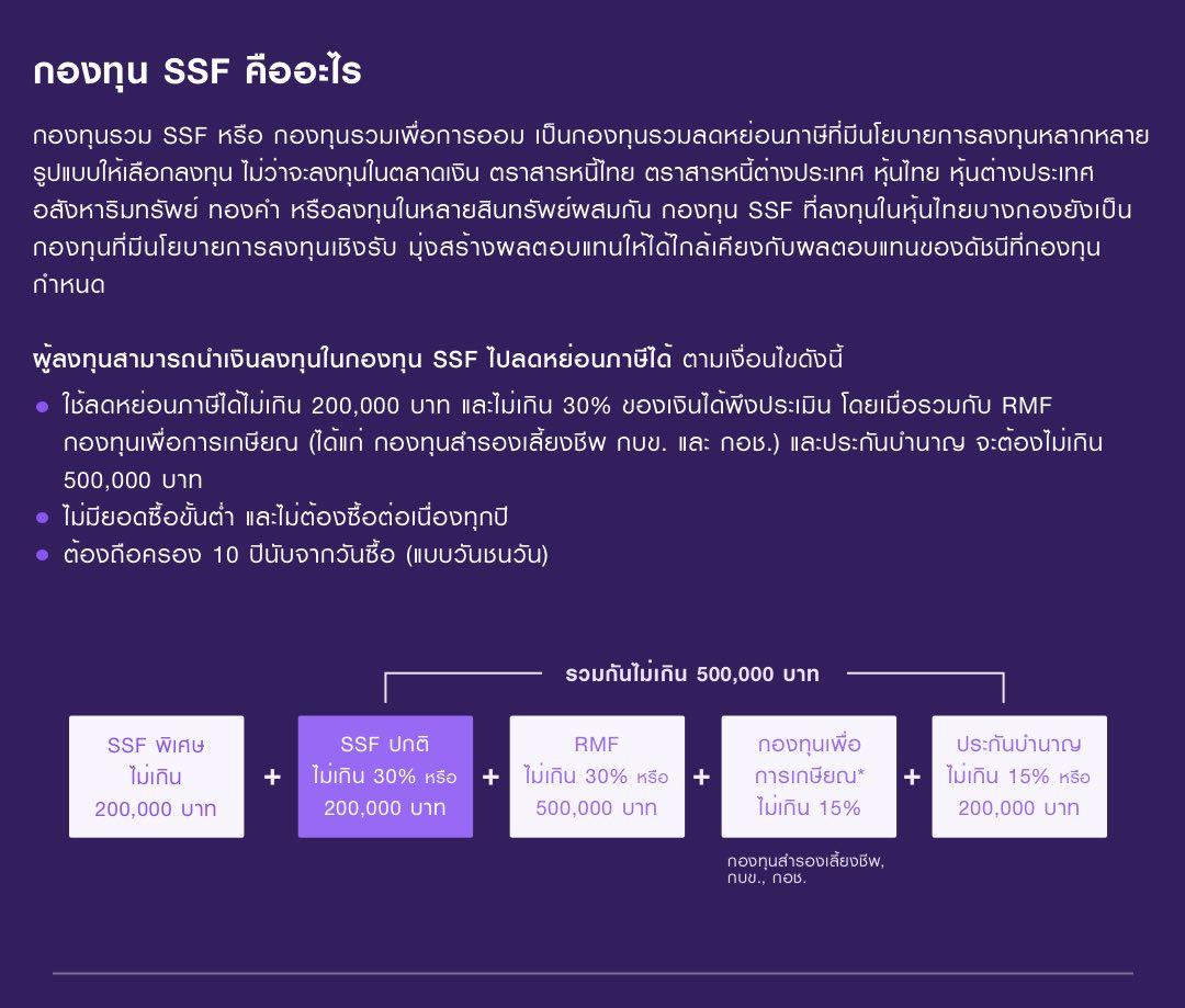 กองทุน SSF เป็นกองทุนรวมลดหย่อนภาษีที่มีนโยบายการลงทุนหลากหลายรูปแบบใช้ลดหย่อนภาษีได้ไม่เกิน 200,000 บาท และไม่เกิน 30% ของเงินได้พึงประเมิน โดยเมื่อรวมกับ RMF กองทุนรวมเพื่อการเกษียณ (กองทุนสำรองเลี้ยงชีพ กบข. กอช.) และประกันบำนาญ จะต้องไม่เกิน 500,000 บาท