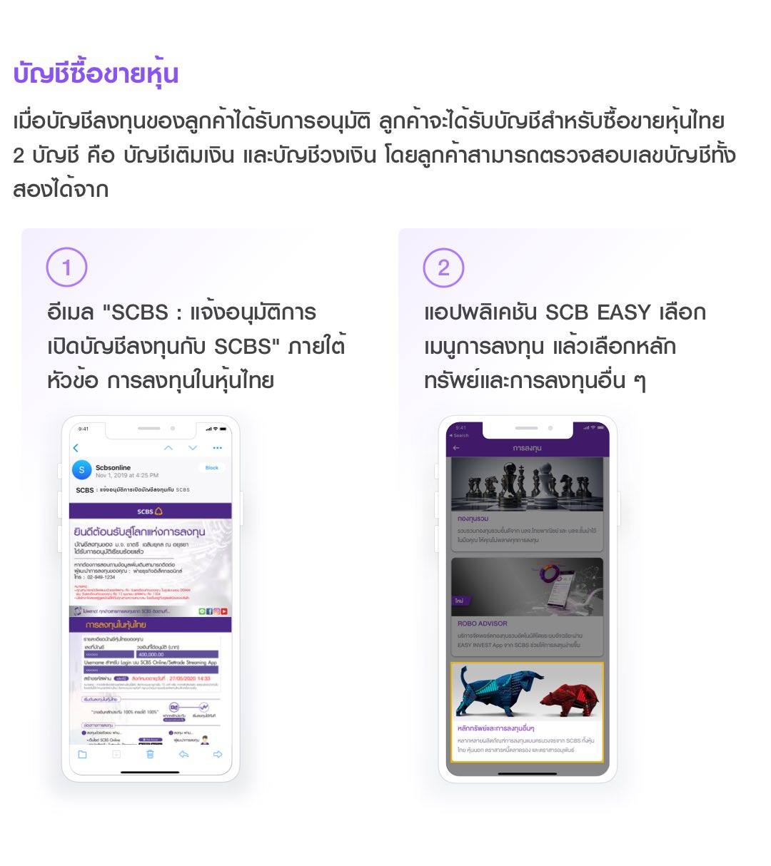 บัญชีซื้อขายหุ้น ลูกค้าจะได้รับบัญชีสำหรับซื้อขายหุ้นไทย 2 บัญชี คือ บัญชีเติมเงิน และบัญชีวงเงิน โดยลูกค้าสามารถตรวจสอบเลขบัญชีทั้งสองได้จาก อีเมล SCBS : แจ้งอนุมัติการเปิดบัญชีลงทุนกับ SCBS หรือแอปพลิเคชัน SCB EASY เลือกเมนูการลงทุน แล้วเลือกหลักทรัพย์และการลงทุนอื่น ๆ